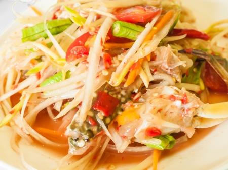 green papaya salad with crab, somtum thai food photo