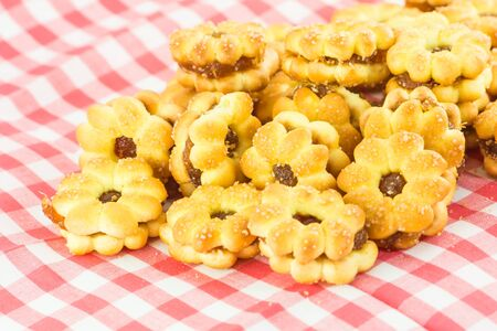 pineapple cookies on background, cookies pineapple filling photo