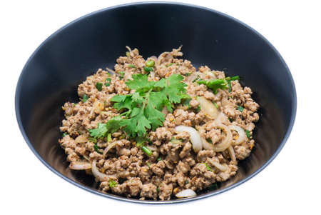 Spicy minced pork in the dish, thai food photo