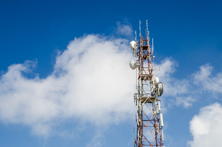 parabolic: Antenna Tower of Communication at doi inthanon in thailand Stock Photo