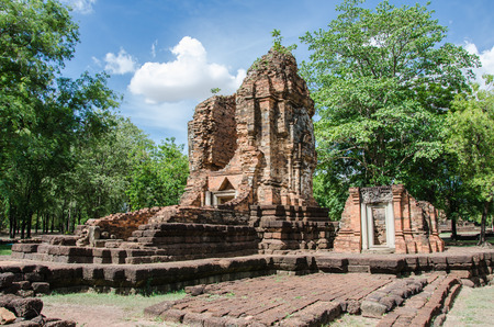 thep: ancient architecture of si thep historical park, thawarawadee kingdom, thailand Stock Photo