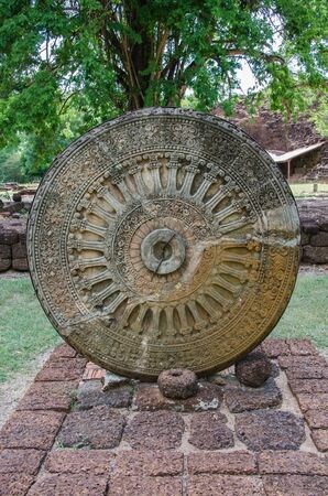 thep: ancient wheel of dhamma, wheel of life,si thep historical park Stock Photo