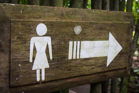 loo: signs women toilet on wood background Stock Photo