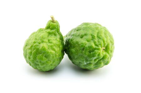 leech: kaffir lime isolated on white background,  bergamot fruit Stock Photo