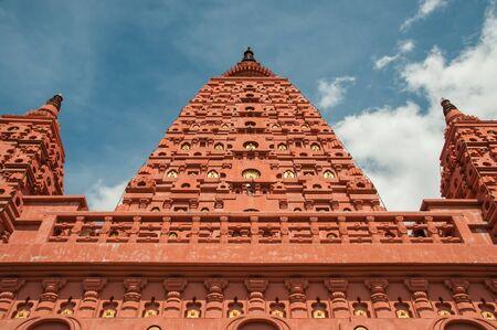 bodhgaya: bodhgaya stupa in thailand, pa siriwattana wisut temple at nakhon sawan province of thailand
