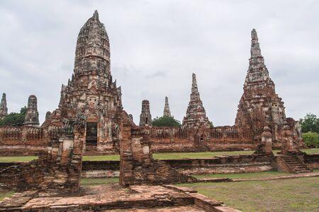 ancient pagoda with cloud at wat chaiwatthanaram, ayutthaya historical park