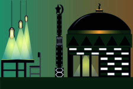 Illustration Vector Graphic of Ramadan Kareem greeting with mosque background