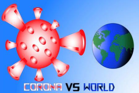 Illustration Vector Graphic of Covid-19 vs World Background