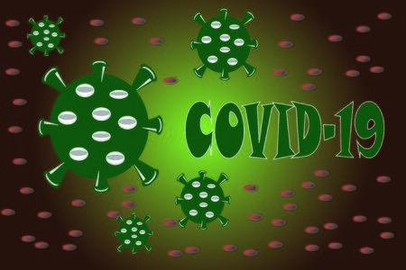 Illustration Vector Graphic of Coronavirus covid-19 virus cell background Stock Illustratie