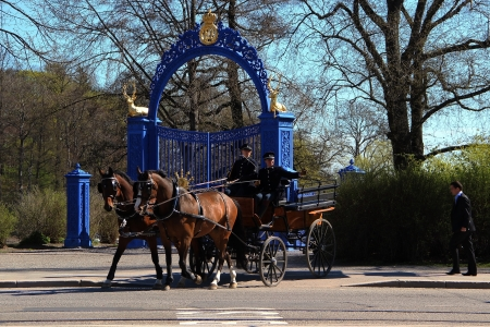 guard house: Sweden Stockholm street house trees horse people police guard trooper