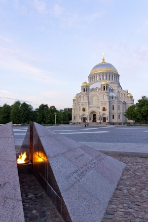 The naval Cathedral in Kronstadt Russia. View of the Cathedral square. photo