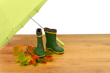Baby rubber boots umbrella maple leaves floor isolated white background green photo
