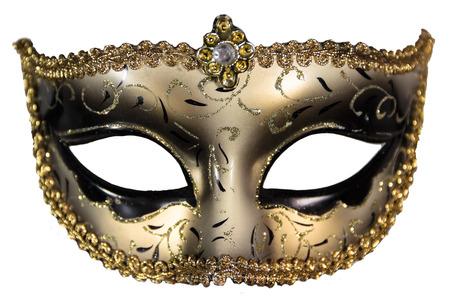 カーニバルの仮面舞踏会マスク クリスマス ブラック ゴールド白背景銀の新年