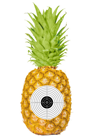 Pineapple knives target ripe  silk isolated white background Stock Photo - 27697619