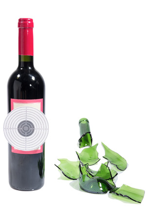 musket: Target bottle wine broken isolated white background