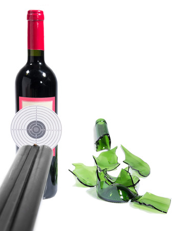 Target bottle wine broken isolated white background photo