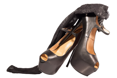 fishnet stockings: womens shoes high heel black fishnet stockings isolated white background