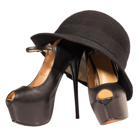 womens shoes high heel black hat  isolated white background photo