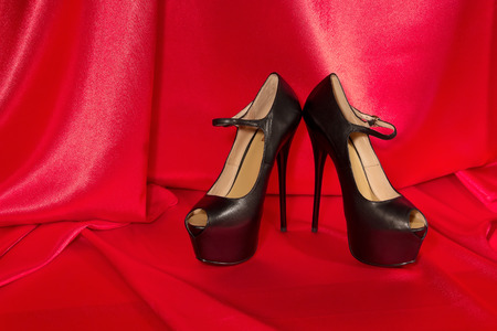 womens shoes high heel black red cloth  background photo