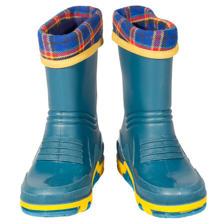 kids rubber boots green blue yellow rag insert isolated white background photo