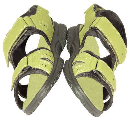 mens sandals green isolated white background photo