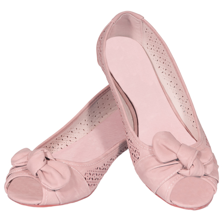 shoes ballet flats pink female white background isolated photo