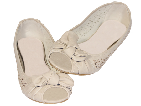 shoes ballet flats beige  mesh female white background isolated photo