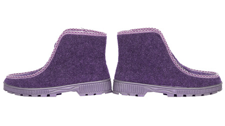rubber sole: felt boots with rubber sole isolated pink  white background