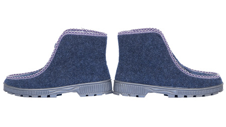 rubber sole: felt boots with rubber sole isolated  blue white background