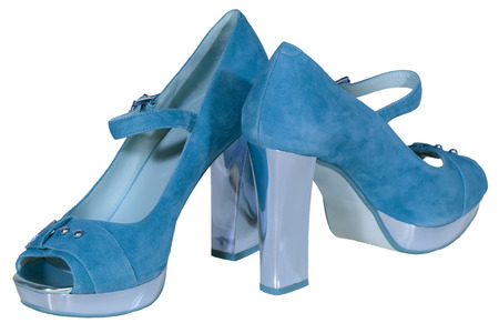 zapatos de tac�n alto para mujer azul de fondo blanco aislado photo