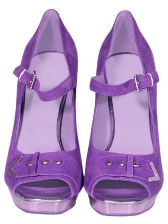 zapatos de tac�n alto para mujer lila fondo blanco aislado photo
