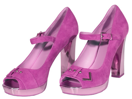 womens shoes high heel pink isolated white background photo