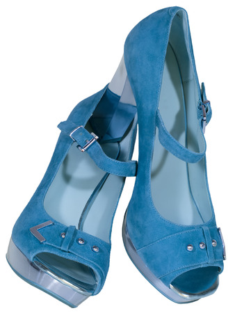 womens shoes high heel blue isolated white background photo