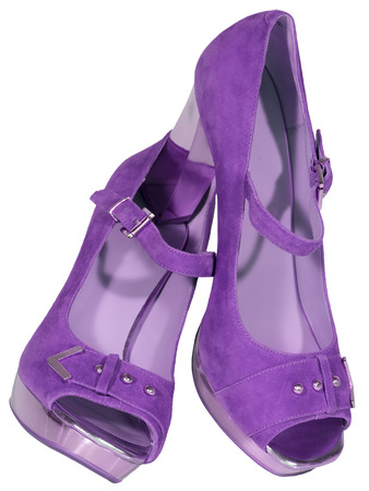 womens shoes high heel lilac isolated white background photo