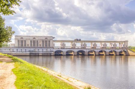 uglich russia: Hydroelectric panorama summer river Volga Uglich Russia Stock Photo