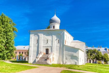 bargaining:  Russia Veliky Novgorod Church of the assumption on the Bargaining Stock Photo