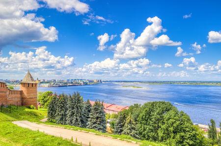 novgorod: Top view  center  Nizhny Novgorod  confluence  rivers Volga Oka attractions Stock Photo