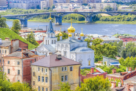 oka: Top view  center  Nizhny Novgorod  confluence  rivers Volga Oka attractions Church  Elijah  Prophet