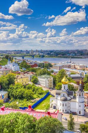oka: Top view  center  Nizhny Novgorod  confluence  rivers Volga Oka attractions Church  Kazan icon  Mother of God