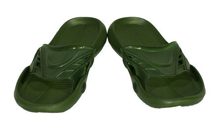 flip flops rubber green isolated white background slippers photo