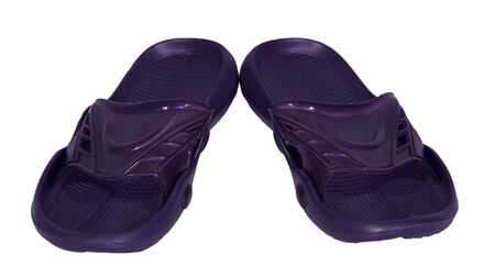 flip flops rubber purple isolated white background slippers photo