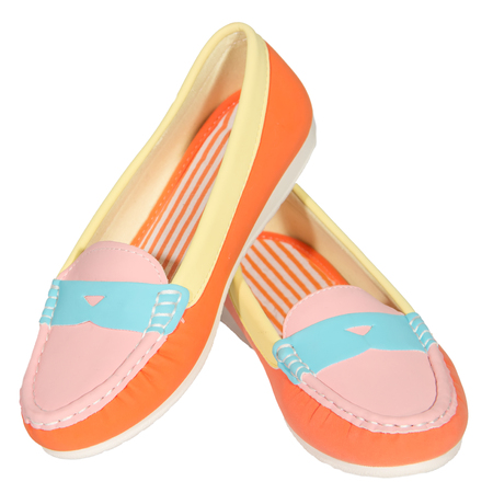 shoes ballet flats multicolored baby  female white background isolated photo