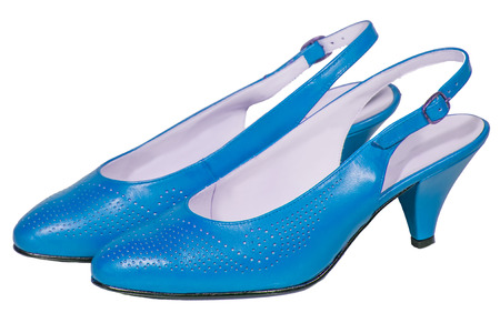 womens shoes sandals heel blue isolated white background photo
