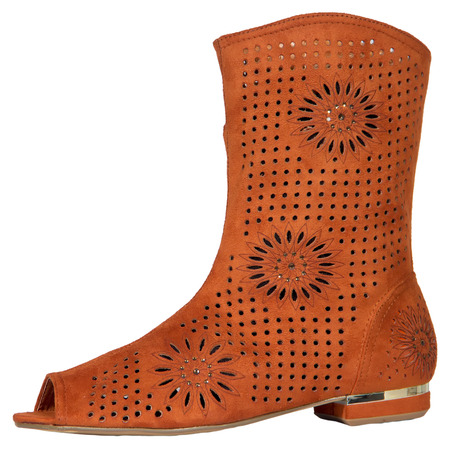 barn girls: Womens boots Fish head stylish lace summer fishnet mesh lace hollow pattern isolated white background