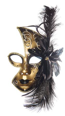 masquerade mask: Carnival masquerade mask  black gold lush feathers on side white background  New year Christmas