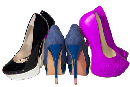 womens shoes high heel set blue green pink black isolated white background photo