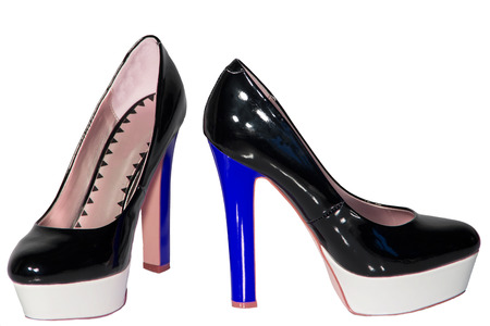 patent leather: Womens shoes black patent leather blue high heel sole white isolated background one pair