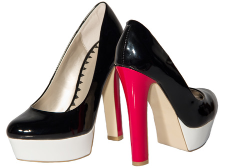 patent leather: Womens shoes black patent leather red high heel sole white isolated background one pair Stock Photo