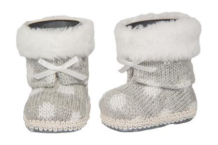 valenki: Baby boots Christmas grey isolated white  background