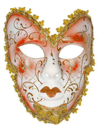 biege: Carnival mask biege Christmas New year Venetian white background isolated object
